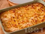 Вкусни обикновени сладки варени макарони на фурна с яйца, захар, прясно мляко и сирене (класическа рецепта)